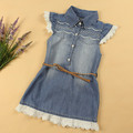 Wholesale 5pcs/lot  Baby Girls Denim Dress Kids Cute Dress With Belt And Lace Girls Summer Clothing