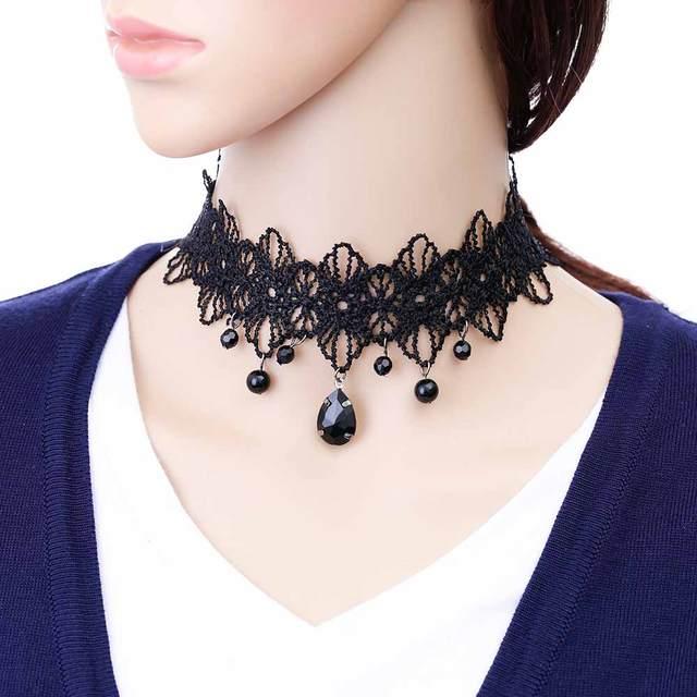 08d0aab76436 Iparam Новая мода ожерелье дамы украшения ручной работы Готический Ретро  Кружева ожерелье нагрудники камни