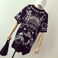 Women KTZ Style Totem Printed Cotton T-shirts Female Summer Harajuku Punk Unif Mid Long Length Short Sleeve Casual Tee Tops