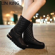 LIN KING New Style Women Flats Fashion Boots Casual Solid Plaid Cotton Padded Winter Boots Thick Sole Wedges Boots Plus Size