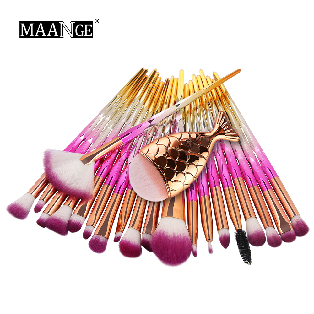 Hot 11/21pcs Mermaid Diamond Makeup Brush Set Fish Tail Foundation Blush Eye shadow Make up Brush Contour Blending Brushes Kit fish shaped ombre handle eye brush 11pcs