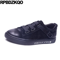 Black Sneakers Suede Trainers Fashion Flats Footwear Skate Comfort New Casual Platform Men Shoes Spring Autumn