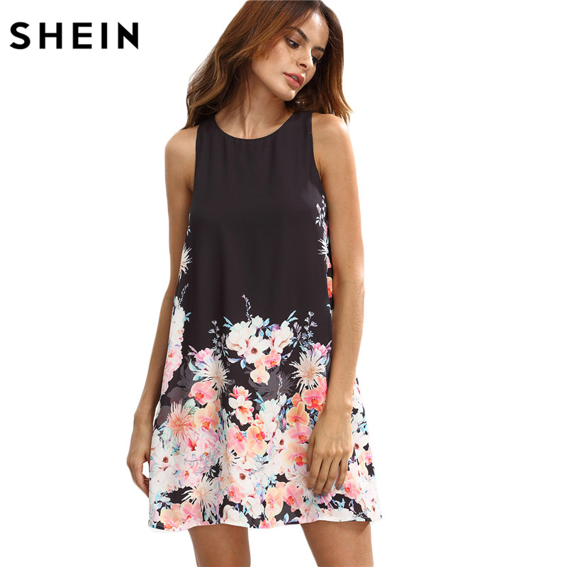 e41a2c9083 SHEIN Boho Floral Print Cut Away Women Shift Dress, Summer Autumn Casual  Fashion Dresses, Round Neck Sleeveless Clothing-in Dresses from Women's  Clothing ...