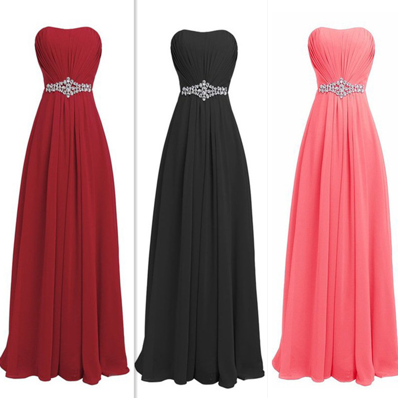 QNZL80#Pink black wine red Resin drill Zipper back Evening Dresses party prom dress 2019 cheap wholesale women clothin customize