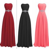 QNZL82#Pink black wine red Resin drill Zipper back Bridesmaid Dresses wedding party prom dress 2018 cheap wholesale customize