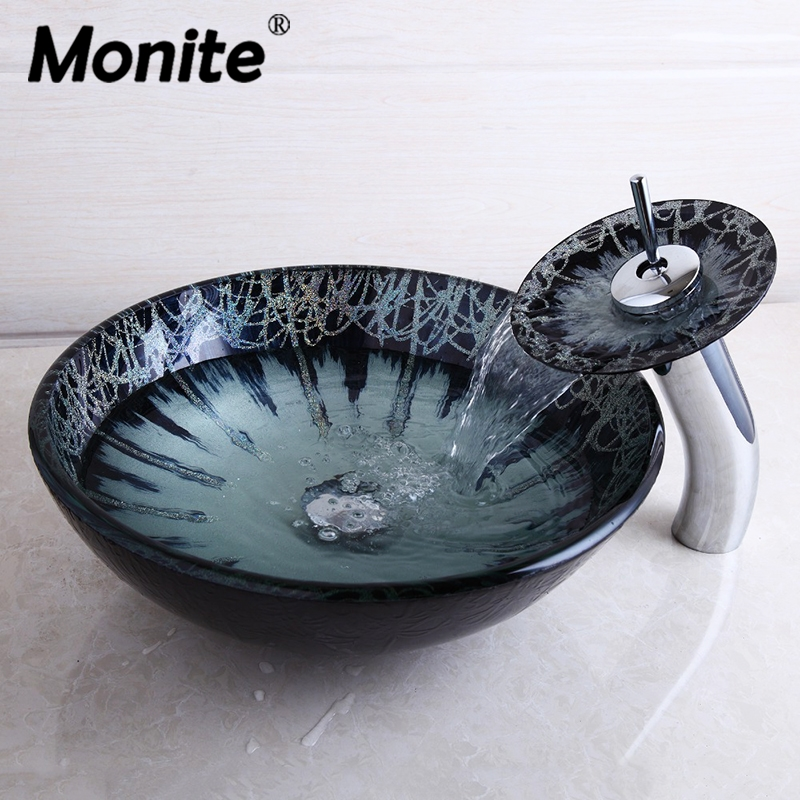 Monite Bathroom Tempered Glass Vessel Vanity Print Color Sink Bowl with Faucet Sink Set Waterfall Faucet
