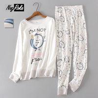 Korea Spring White Color 100 Cotton Pajamas Sets For Womens Simple Long Sleeved Alarm Clock Women