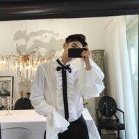 40% Cotton Shirt Retro Ruffleshirt Men White Wedding Shirt Men Flare Sleeve Shape Royal Designer Gothic Shirt Men Chemise Homme