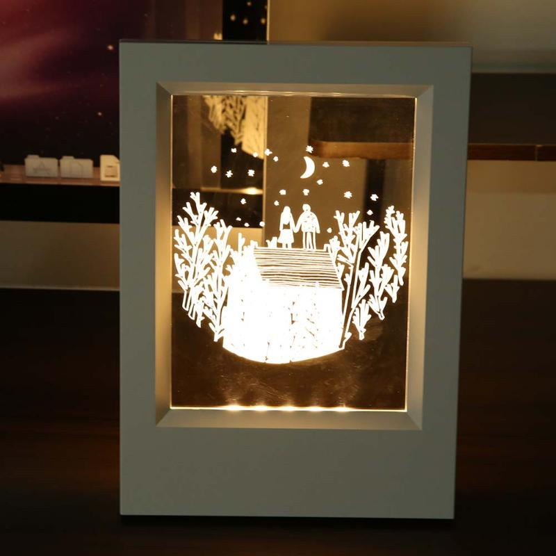 Deer Patterns Wood Frame Small 3D Night Light Creative Acrylic Photo Frame With Lamp Decoration USB Desk Lamp Can leave message
