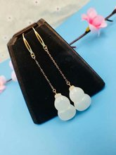 SHILOVEM 18k yellow gold real Natural white Jasper drop earring classic fine Jewelry women wedding gift new 11*16mm yze1116hby