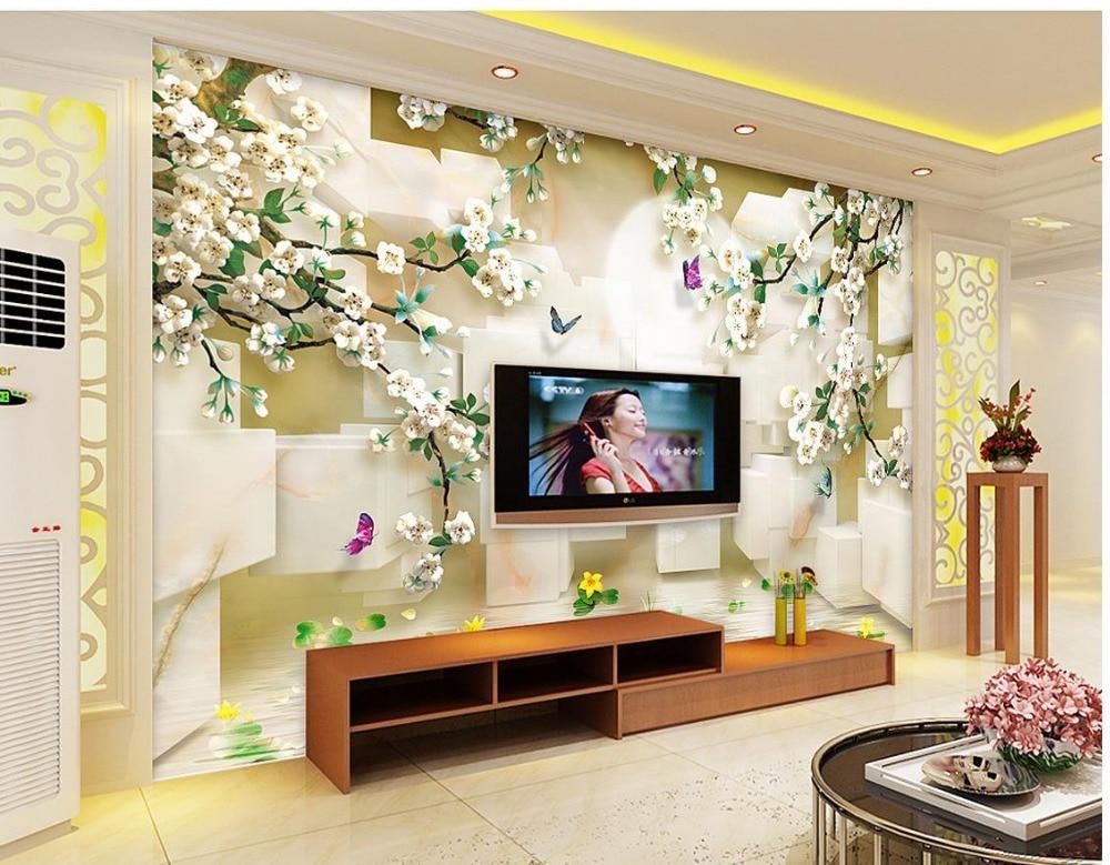 wallpaper flower 3d Plum blossom block wave reflection 3d murals wallpaper for living room Wall Decoration