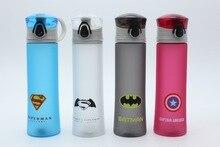 BPA FREI Kunststoff Tragbare Wasserflasche Cup Spiderman/Superman/Transformatoren/Batman/Captain America Für Outdoor-sportarten Camping