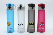 New BPA Free Plastic Portable Water Bottle Spiderman/Superman/Transformers/Batman/Captain America For Outdoor Sports Camping