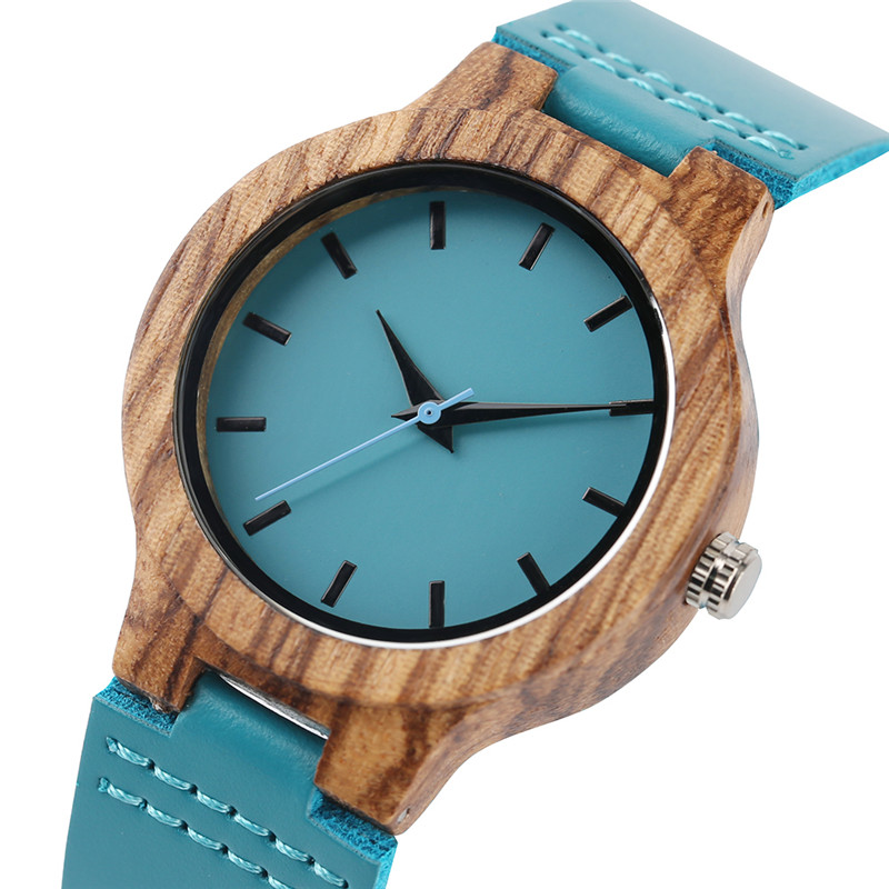 Unique Design Lady Wrist Watch Zebra Wooden Blue Color Genuine Leather Band Women Watches Female Nature Wood Clock Gift 2018 New yisuya bamboo wooden watch men unique design genuine leather band modern quartz creative watches women business wood clock gift