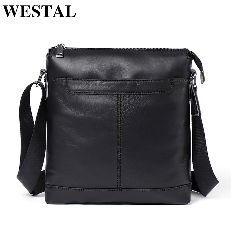 WESTAL Genuine Leather Men bag Messenger Bags men leather small flap Fashion Zipper Design male shoulder crossbody bags for man westal crossbody bags shoulder bag men genuine leather messenger bag zipper cell phone pocket black business small bags 1023
