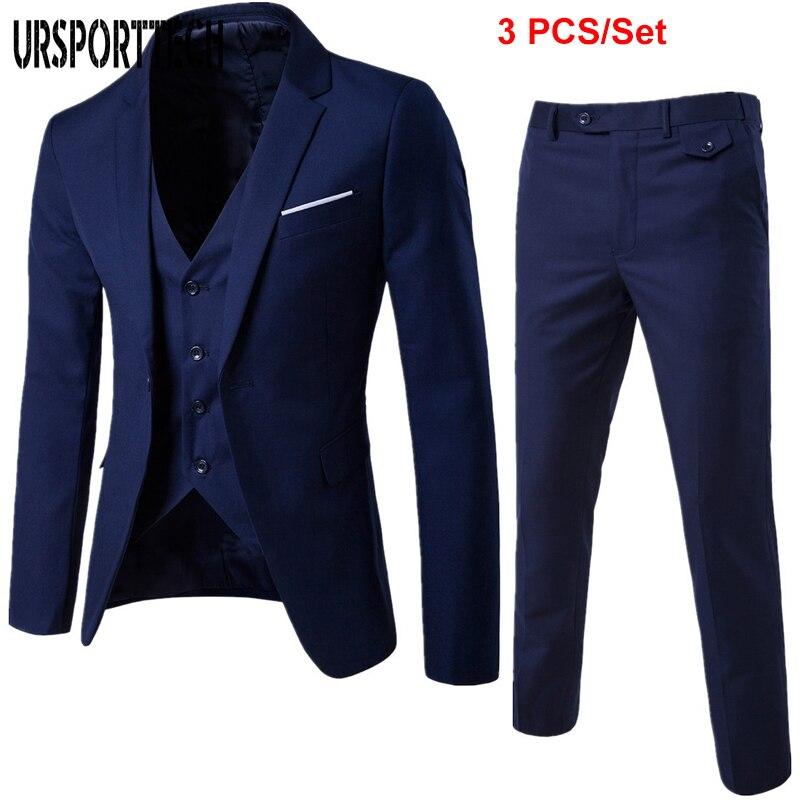 Mens Fashion Slim Suits Men's Business Casual Clothing Groomsman Three-piece Suit British Style Blazers Wedding Men Suit S-6XL