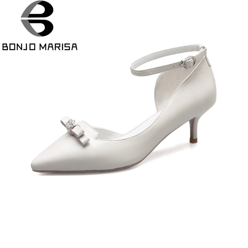 BONJOMARISA women's Genuine Leather Thin Med Heels Pointed Toe Ankle Strap Shoes Woman Casual Spring Office Pumps Big Size 33-40 free shipping 2016 spring autumn pointed toe rhinestone med heels woman shoes big size40 21 42 43 nubuck leather pumps shoes
