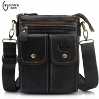 ZZNICK Genuine Leather Bag Men Bags Messenger Bags Male Small Flap Vintage Leather Shoulder Crossbody Bags