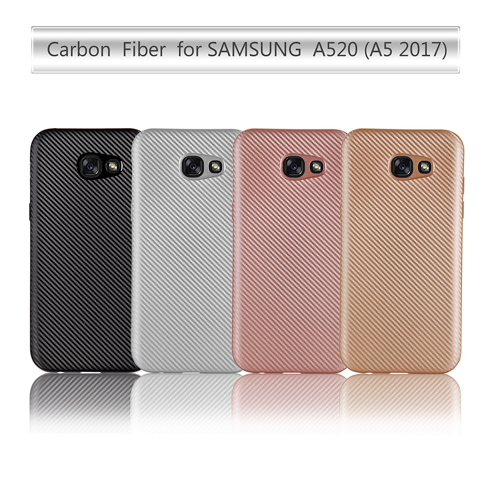 Back Case for Samsung Galaxy A5 2017 Version A5200 A520F Carbon Fiber Cover Soft TPU Mobile Phone Accessories Bags Cases 5.2