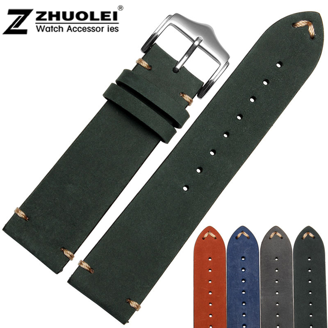 New arrivals 20mm 22mm genuine leather bracelet watchband with stainless steel buckle  handmade watch strap accessories