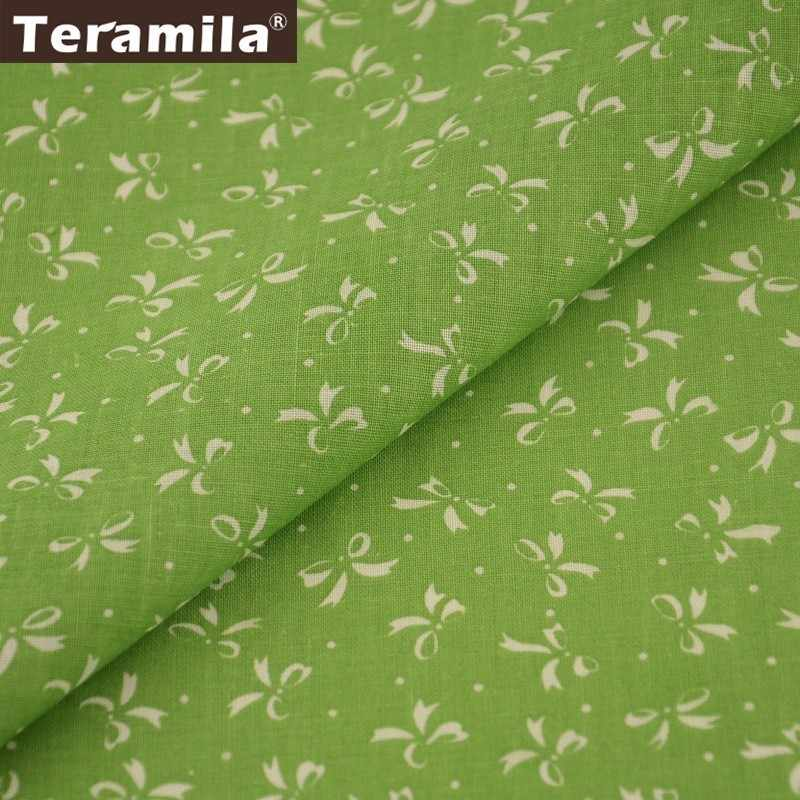 Teramila 100% Cotton Fabric Green Bottom Telas White Bowtie Design Textile DIY Dolls Scrapbooking Tissue Cloth Patchwork