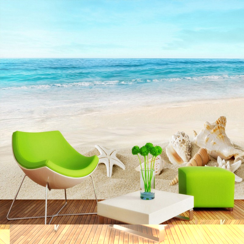 Custom 3d mural Beach sea 3D landscape background wall wallpaper mural balcony living room bedroom home decoration  free shipping pine forest 3d landscape background wall living room bathroom bedroom home decoration wallpaper mural