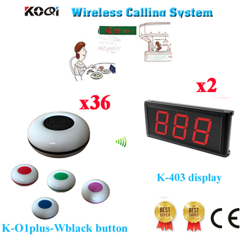 Waiter Calling Bell System Modern Display With Call Button Customer Buzzer For Service 433.92mh(2 Display+36 Call Button)