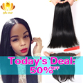 13x4 Ear To Ear Lace Frontal Closure With Bundles Peruvian Virgin Hair Straight with Closure 8A Peruvian Human Hair With Closure