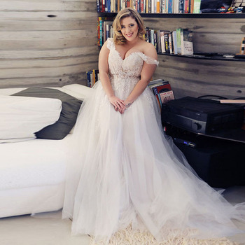 Eightale Plus Size Wedding Dresses Zipper V-Neck Appliques Lace Tulle Custom made Boho Wedding Gowns Bride Dress Free Shipping