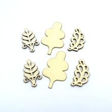 10pcs/set 5cm / 7cm 3 Design leaf Natural wooden Scrapbooking Carft Handmade Accessories Home Decorations 12021