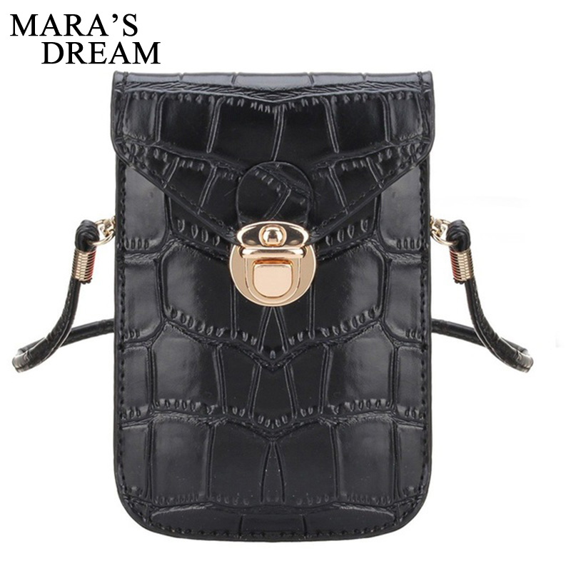 Mara's Dream Women Messenger Bags Crocodile Grain Leather Shoulder Bags Ladies Crossbody Small Bag Cell Phone Vintage Clutch 2017 women handmade patchwork wool pu leather shoulder bag vintage retro cute china red small cell phone funky crossbody bag