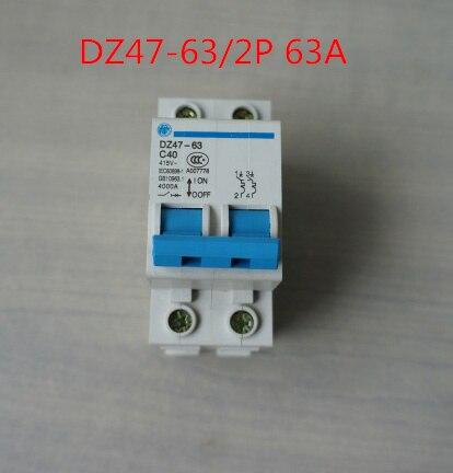 2P 63A 415V~ 50HZ/60HZ MINI Circuit breaker AC MCB safety breaker C Type