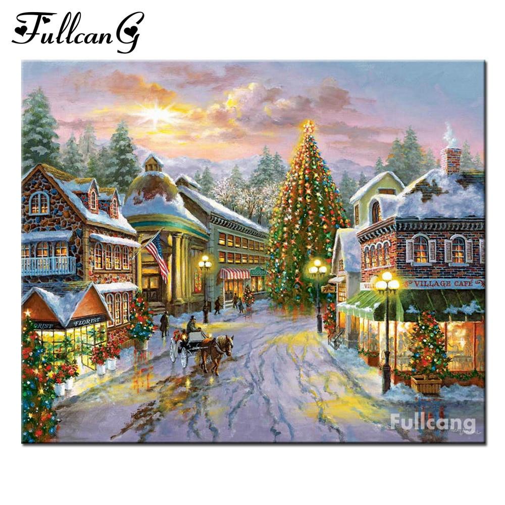 Christmas house painting - Fullcang Christmas House Mosaic Painting Diy Diamond Painting Cross Stitch Full Square Diamond Embroidery Scenery E494