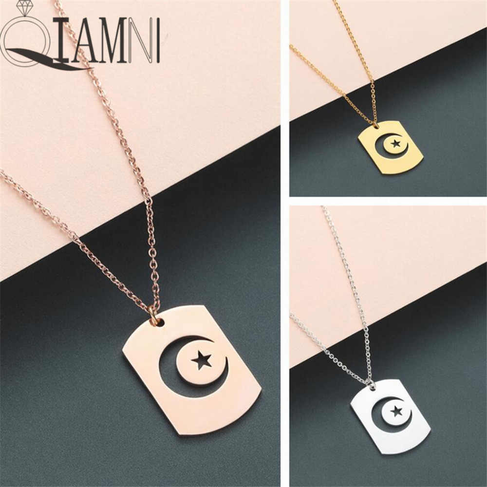 QIAMNI Crescent Moon Star Outline Celestial Symbols Night Sky Pendant Necklace Islamic Muslim Square Tag Necklace Gift Charm