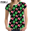 FORUDESIGNS Black Women Summer Short T Shirts Pretty Floral Tops Tshirts Casual Tees For Teenage Girls