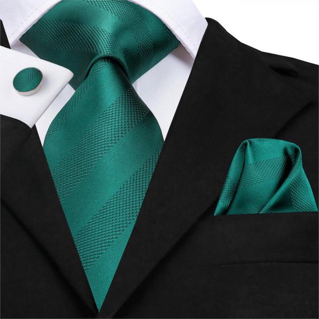 C-3126 Hi-Tie Luxury Silk Men Tie Striped Green Necktie Handkerchief Cufflinks Set Fashion Men's Party Wedding Tie Set 8.5cm