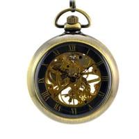 Classic No Cover Rome Bronze Vintage Pocket Watch Mechaincal Watches Man Women Antique Creative Necklace Watch