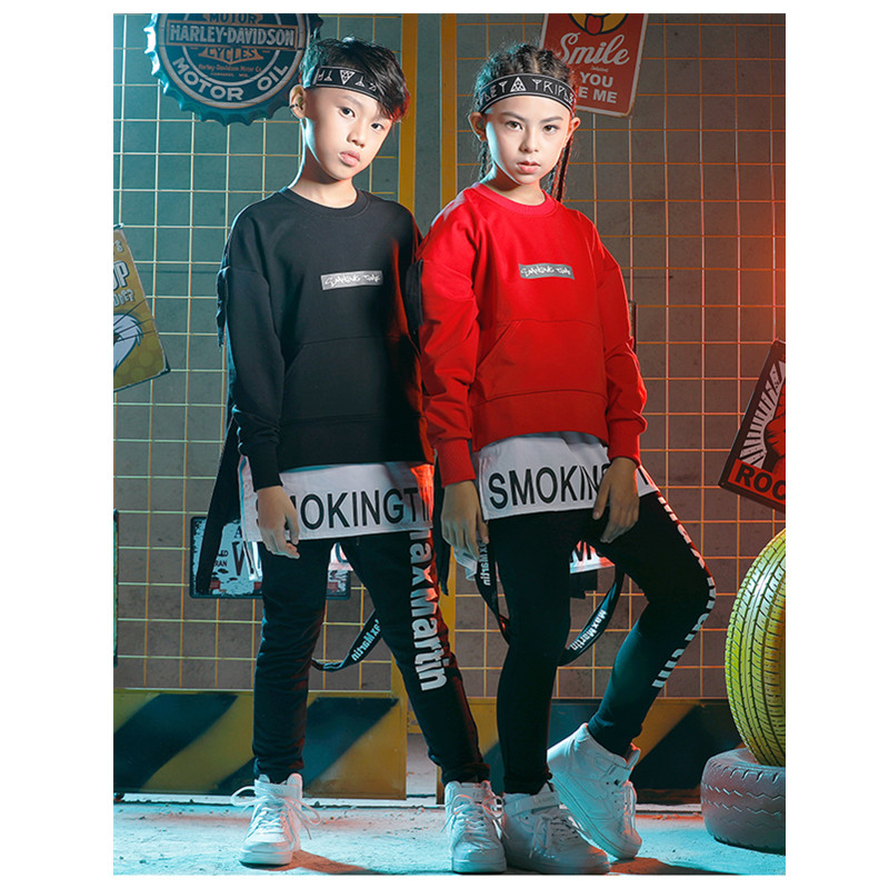 2019 new Boys Hip Hop Dance Costume Sets Children Jazz Clothes Trend Girls Long-sleeved Clothes Halloween Party Clothing
