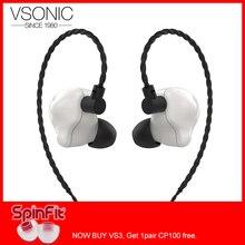 VSONIC VS3 ICEBERG Динамический драйвер HiFi аудио внутриканальный монитор наушники с 2 булавки 0,78 мм съемный кабель