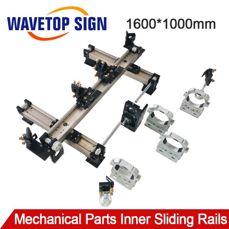 WaveTopSign Parte Mecânica Set 1600*1000mm Interior Trilhos Deslizantes Kits de peças de Reposição para DIY 1610 CO2 Gravação A Laser máquina de corte