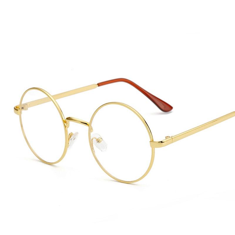 ▽Barato pequeño gafas nerd lente transparente unisex ronda oro ...