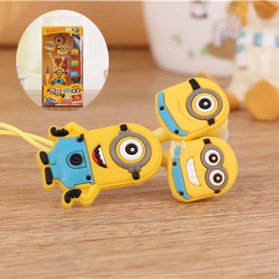 Cartoon Earphone Cute Mr Minions Earphone Headset  3.5mm In-ear Wire for iPhone SE 5 5S 6 Plus Samsung Xiaomi Huawei Mp3 MP4