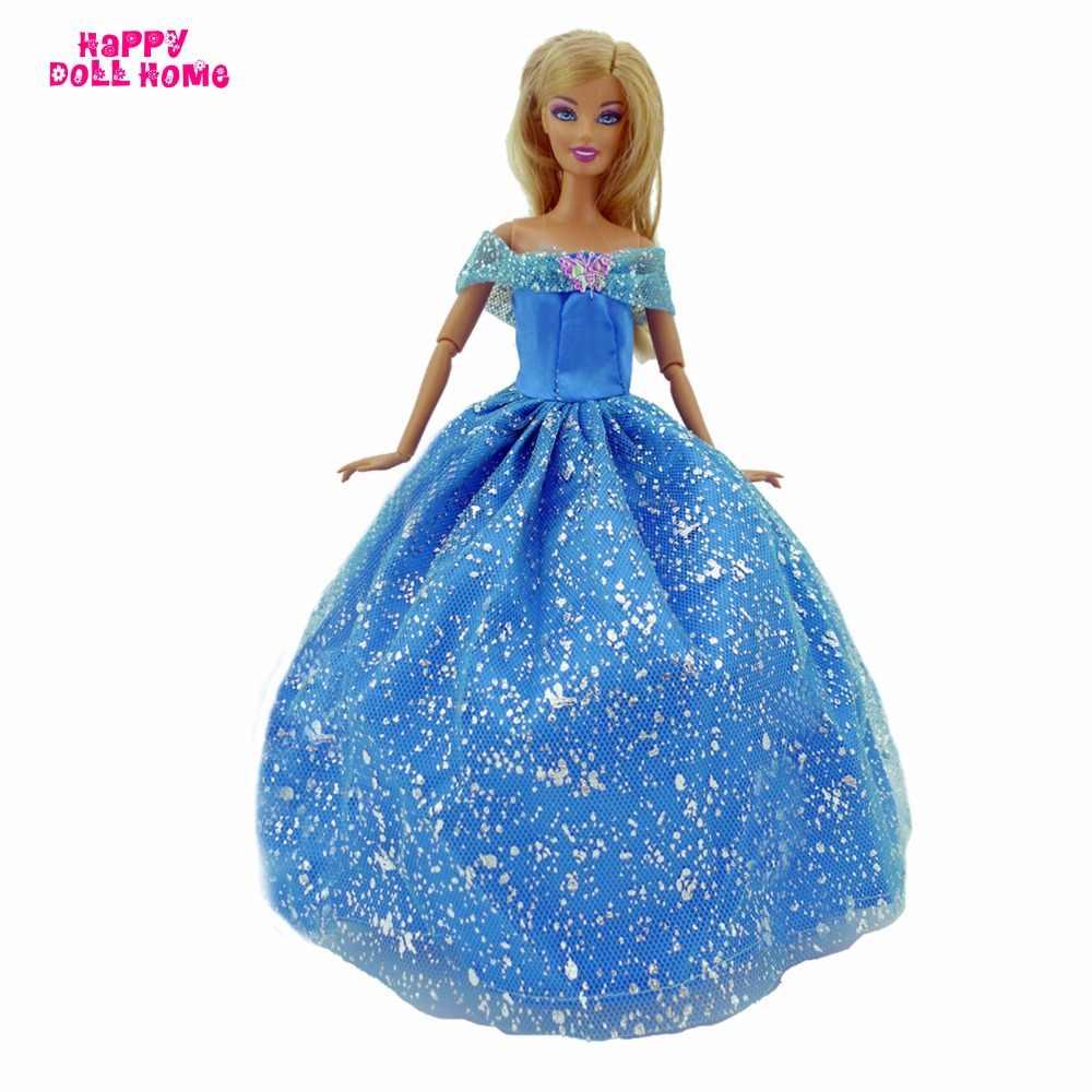 Um pçs vestido de baile azul artesanal vestido de festa de casamento conto de fadas princesa traje roupas para barbie boneca acessórios