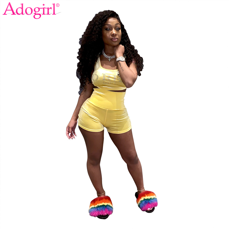 Adogirl Diamonds Letters Casual Two Piece Set Women Tracksuit Tank Crop Top High Waist Shorts Summer Suit Female Fitness Outfits