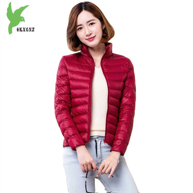 New Women Winter Down Cotton Short Jackets Fashion Solid Color Light Thin Warm Casual Tops Plus Size Slim Lady Coats OKXGNZ A804 winter women s cotton coats solid color hooded casual tops outerwear plus size thicker keep warm jacket fashion slim okxgnz a712