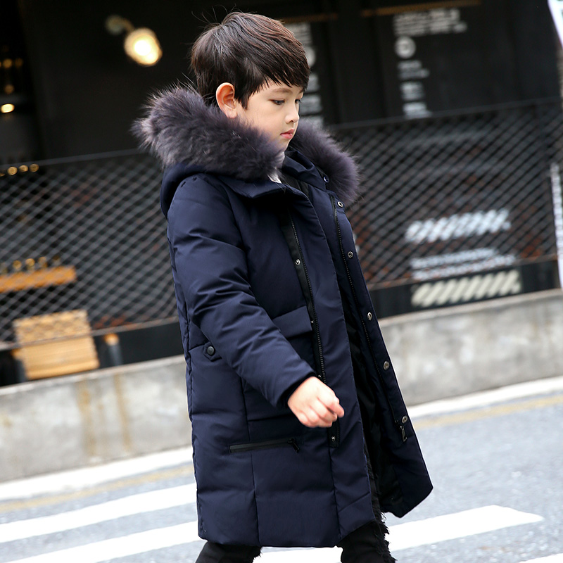 -30c Boys Winter Jacket Coat 2018 Fur Hooded Down Jackets for Kids Boy 6 8 10 12 14 Years thicken Warmly Winter Kids Clothes