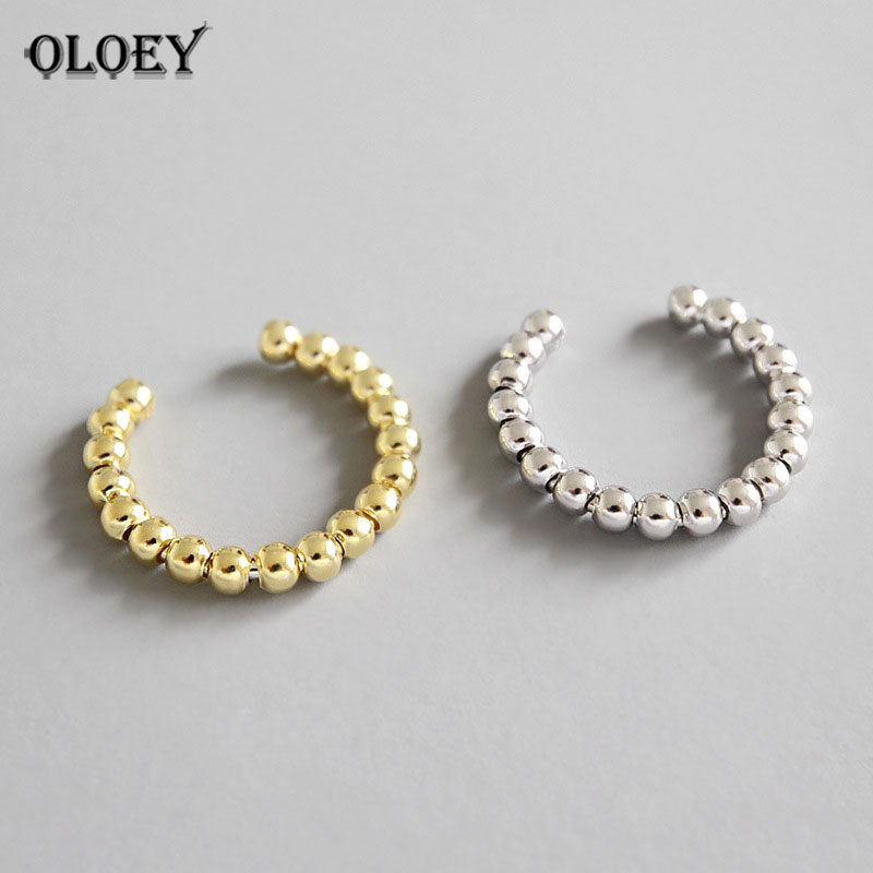 OLOEY Pure 925 Sterling Silver Adjustable Finger Ring Simple Geometric Beads Rings For Women Free Size Fine Jewelry Gift YMR570