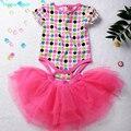 Humor Urso primavera conjuntos de roupas meninas 2 peças terno do bebê rosa das meninas T shirt + saia tutu meninas roupas