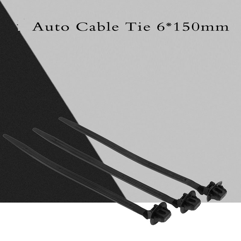 Auto Cable Tie Wrap Cable Fixed Fasteners Clips Car Cable Fastening Zip Strap for All cars 6*150mm 50pcs