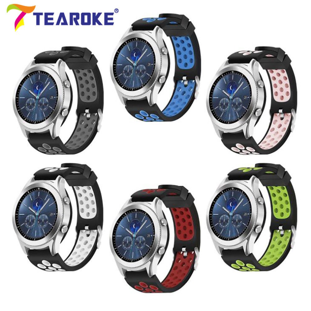 Double Color Silicone Watchband for Samsung Gear S3 Classic Frontier 22mm Holes Replacement Bracelet Band Strap for R770 R760 tearoke 11 color silicone watchband for gear s3 classic frontier 22mm watch band strap replacement bracelet for samsung gear s3